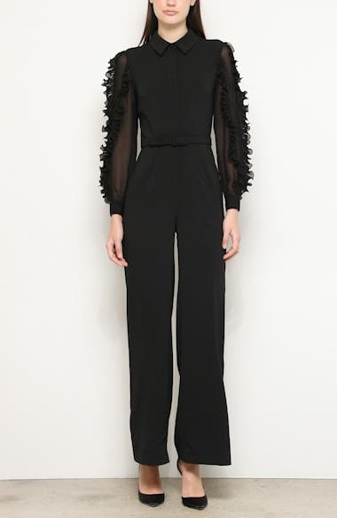 Badgley Mischka Ruffle Long Sleeve Jumpsuit, video thumbnail
