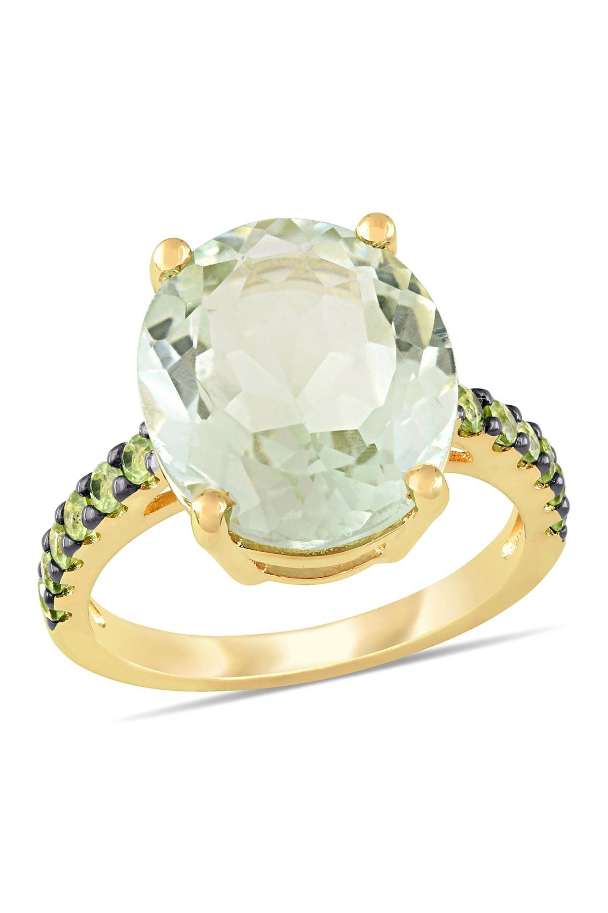 Image of Delmar Yellow Gold Plated Sterling Silver Green Amethyst Pave Peridot Cocktail Ring
