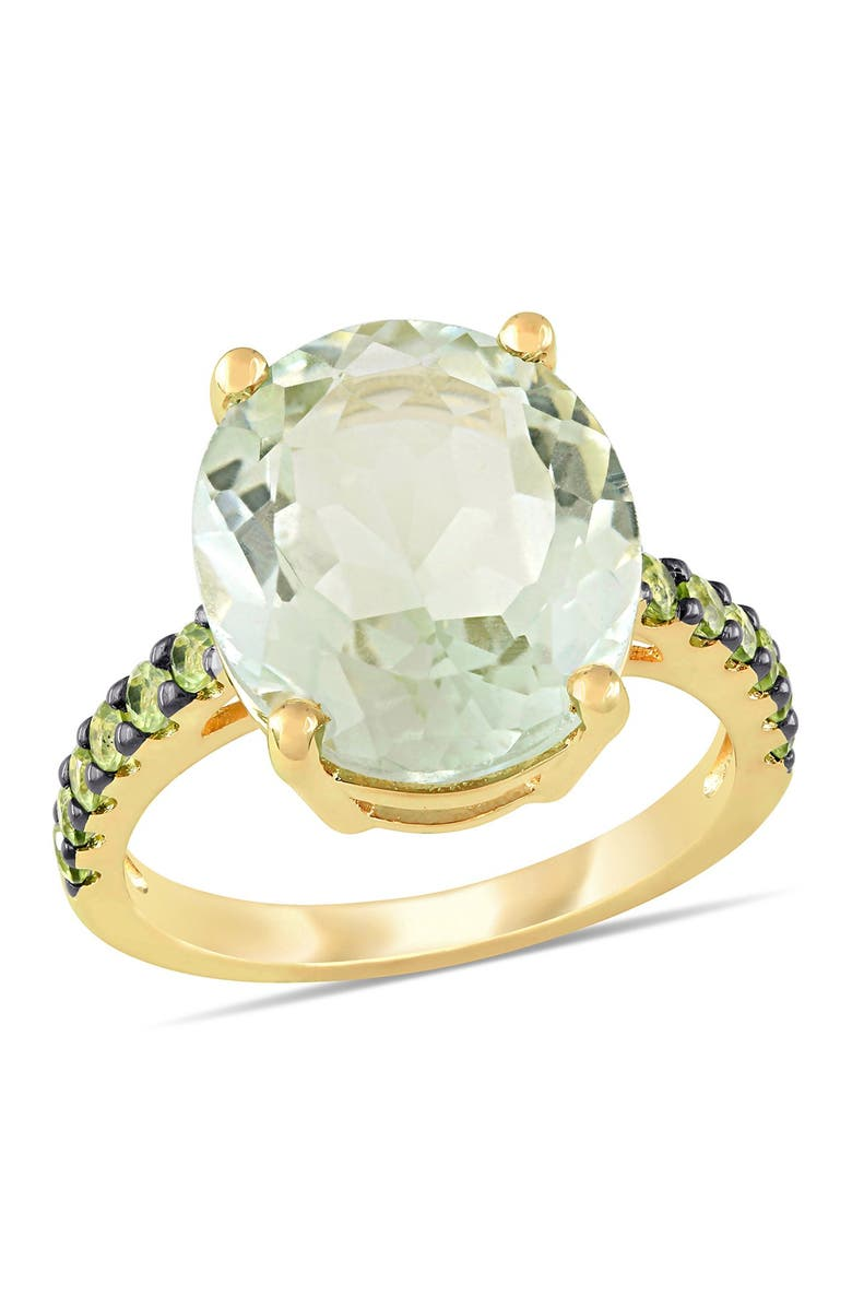 DELMAR Yellow Gold Plated Sterling Silver Green Amethyst Pave Peridot Cocktail Ring, Main, color, GREEN