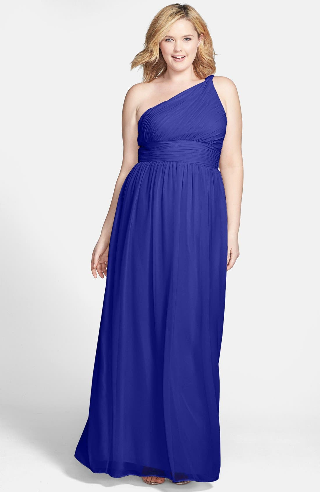 ,                             'Rachel' Ruched One-Shoulder Chiffon Gown,                             Main thumbnail 67, color,                             434