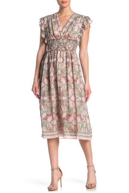 Image of Max Studio Floral Ruffled Smocked Midi Dress