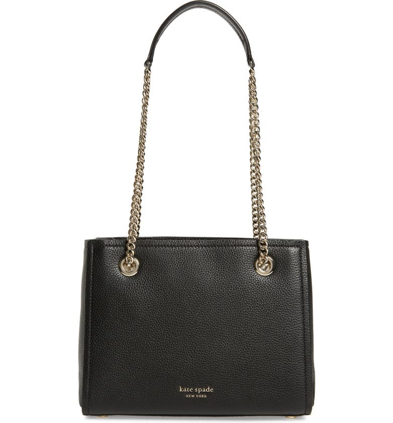 KATE SPADE NEW YORK small amelia leather tote, Main, color, BLACK