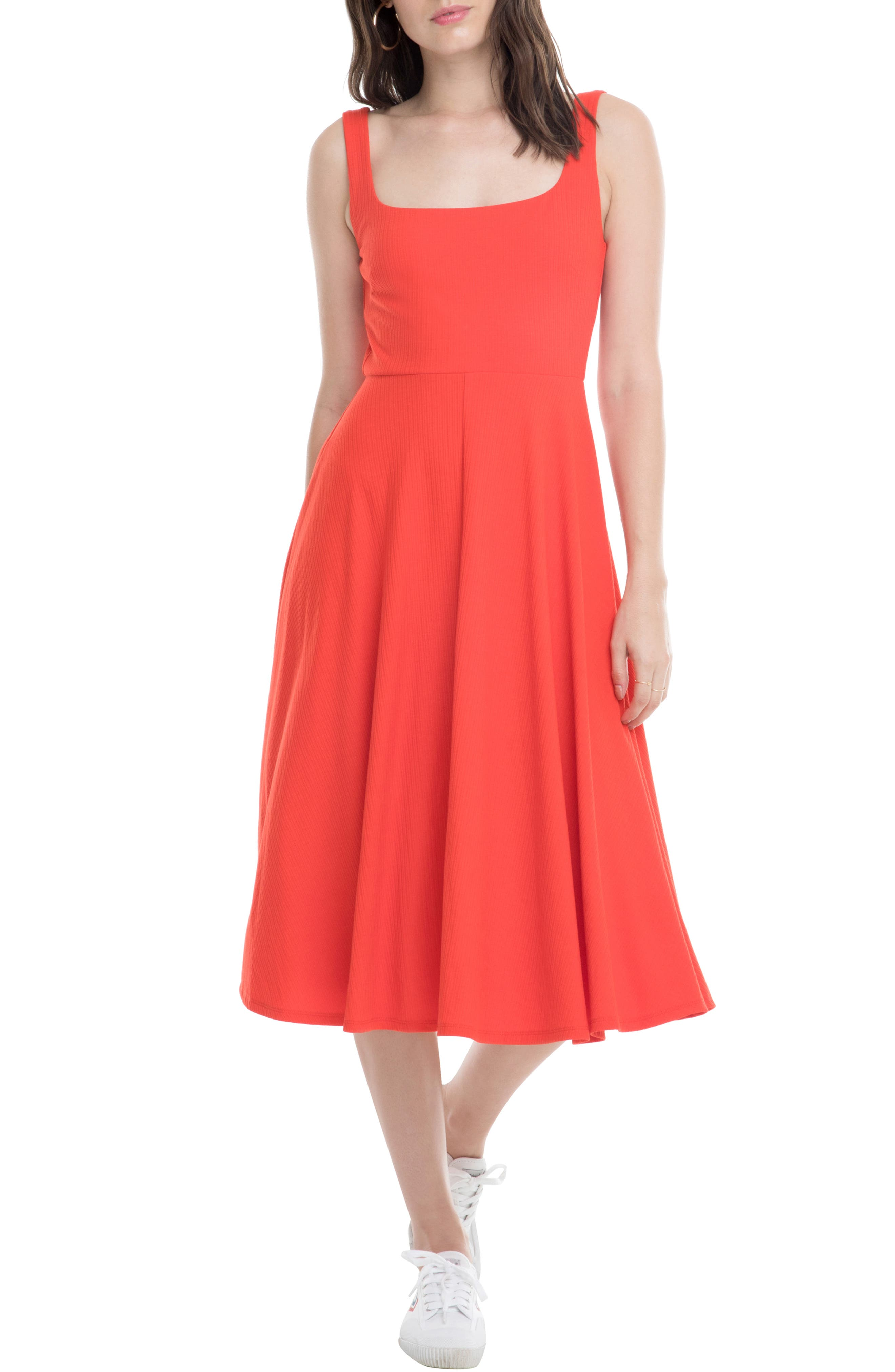 Astr The Label Faith A-Line Dress, Red
