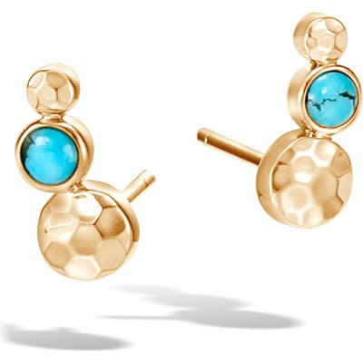 John Hardy Hammered Gold Turquoise Linear Stud Earrings