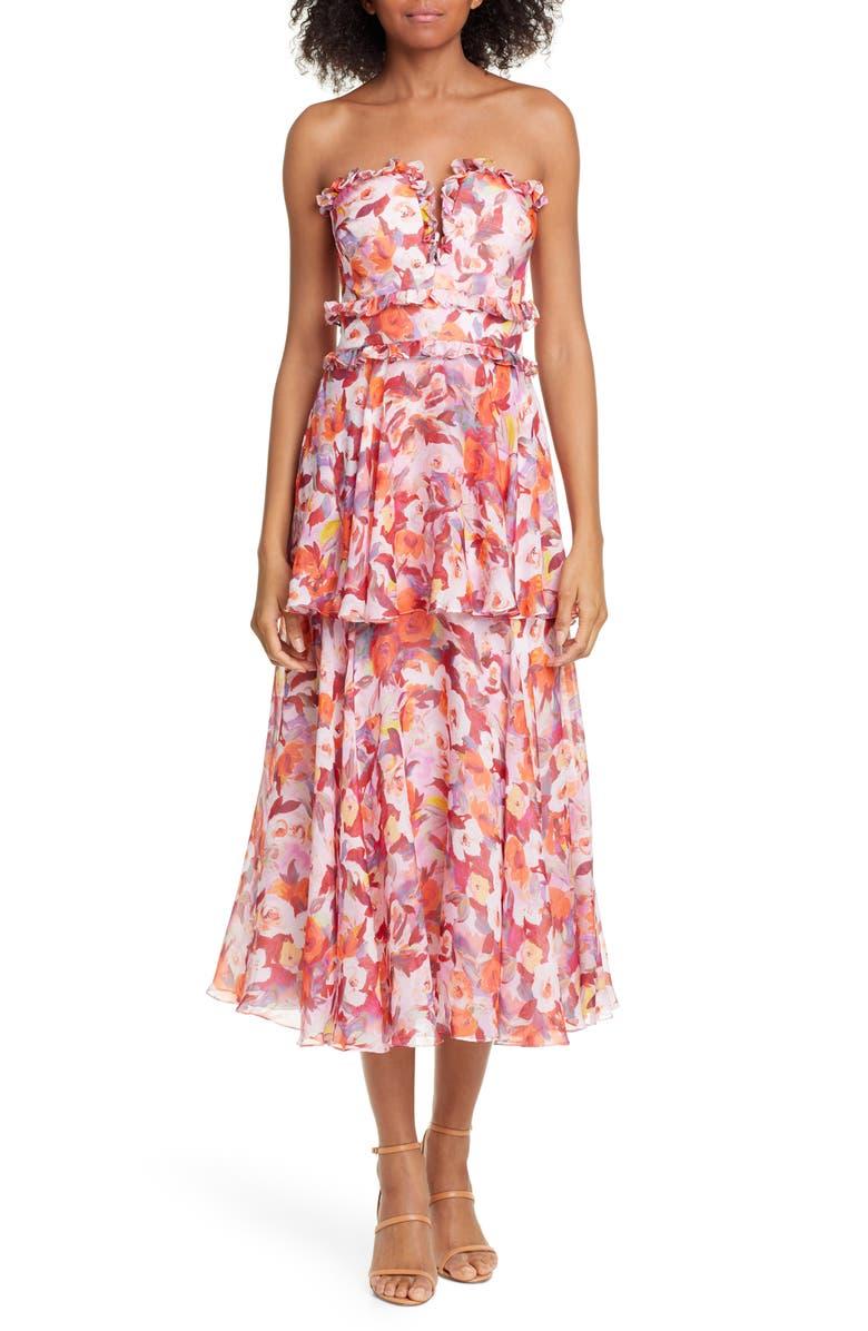 AMUR Darla Floral Print Silk Midi Dress, Main, color, RUST