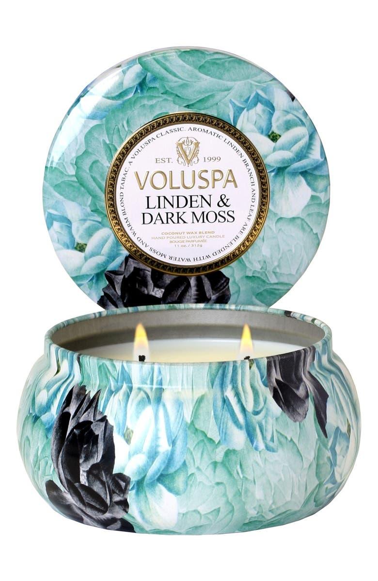 VOLUSPA Maison Jardin Linden & Dark Moss Maison Metallo Two-Wick Candle, Main, color, 000