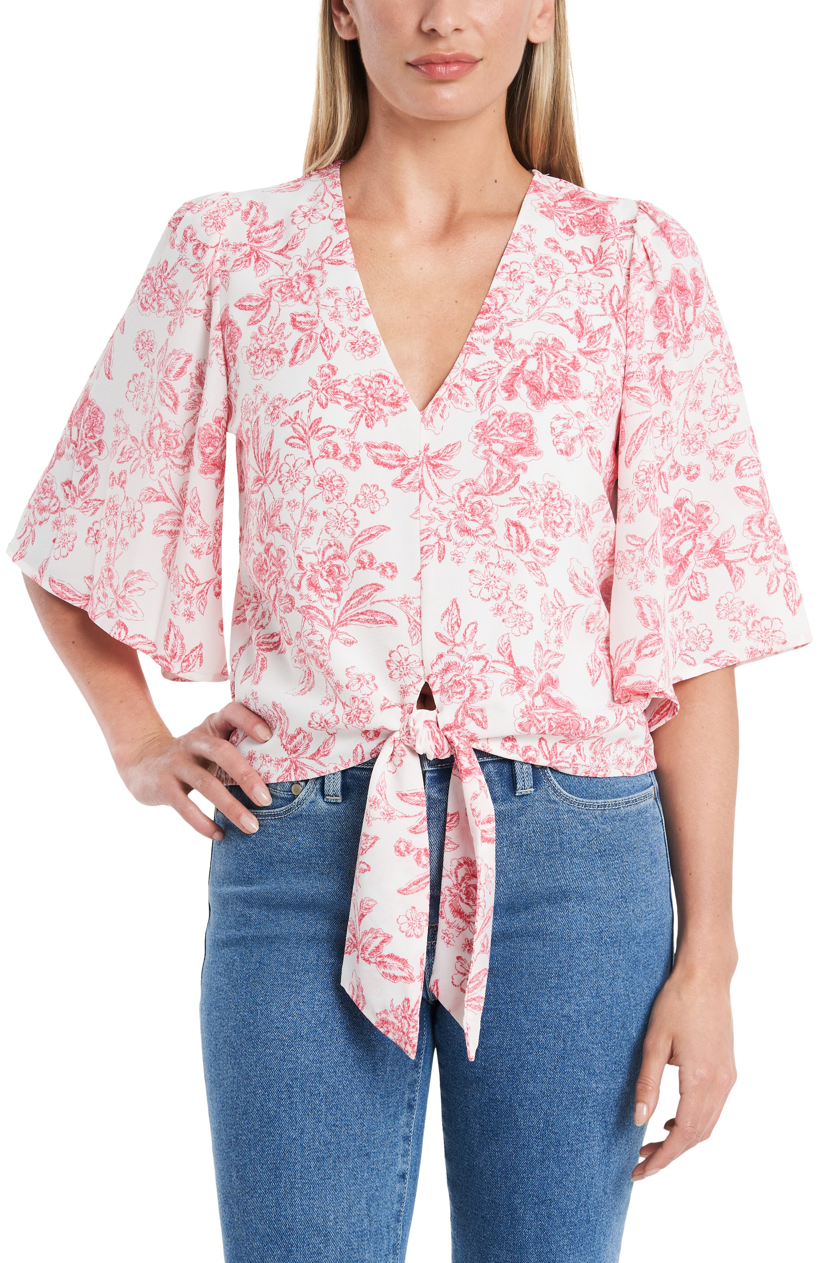 Image of 1.State Flounce Sleeve Tie Front Top