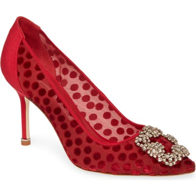 Manolo Blahnik Hangisi Pointy Toe Pump, Red