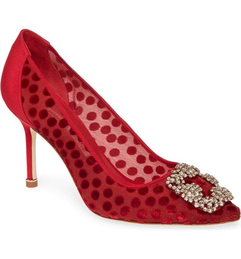 MANOLO BLAHNIK Hangisi Pointy Toe Pump, Main, color, TRUE RED SHEER DOTS