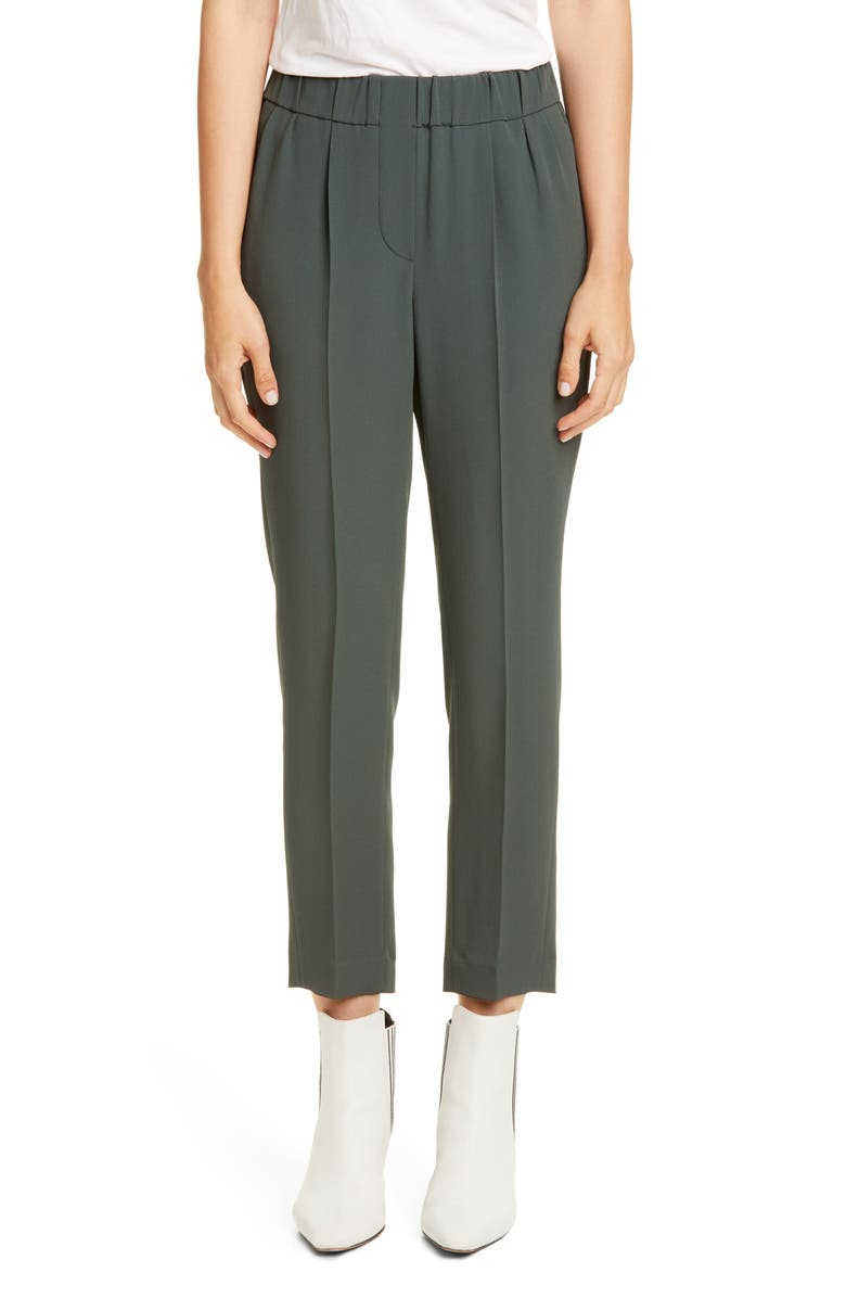 BRUNELLO CUCINELLI Pull-On Ankle Pants, Main, color, MILITARY