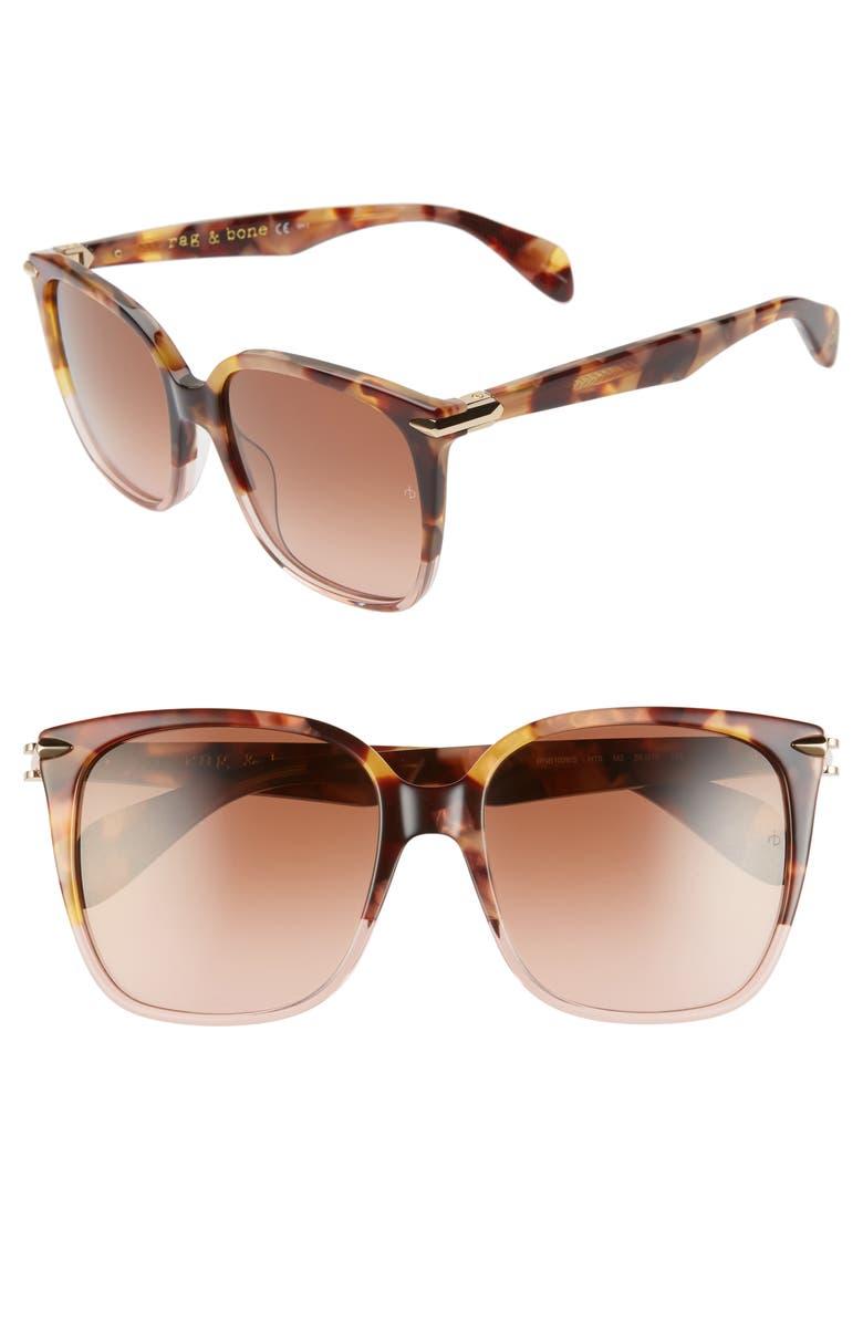 RAG & BONE 56mm Gradient Square Sunglasses, Main, color, BROWN HAVANA/ PINK