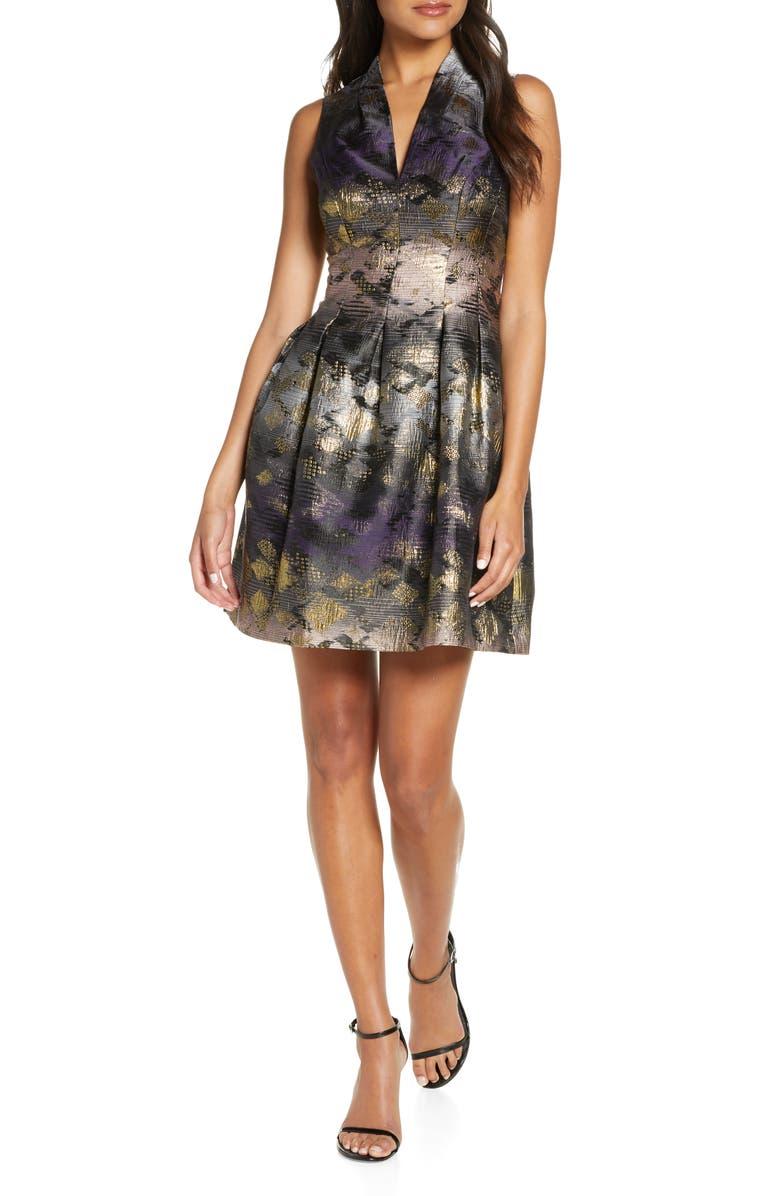 VINCE CAMUTO Metallic Jacquard Fit & Flare Dress, Main, color, BLACK MULTI