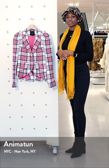Plaid Puff Sleeve Linen Blazer, sales video thumbnail