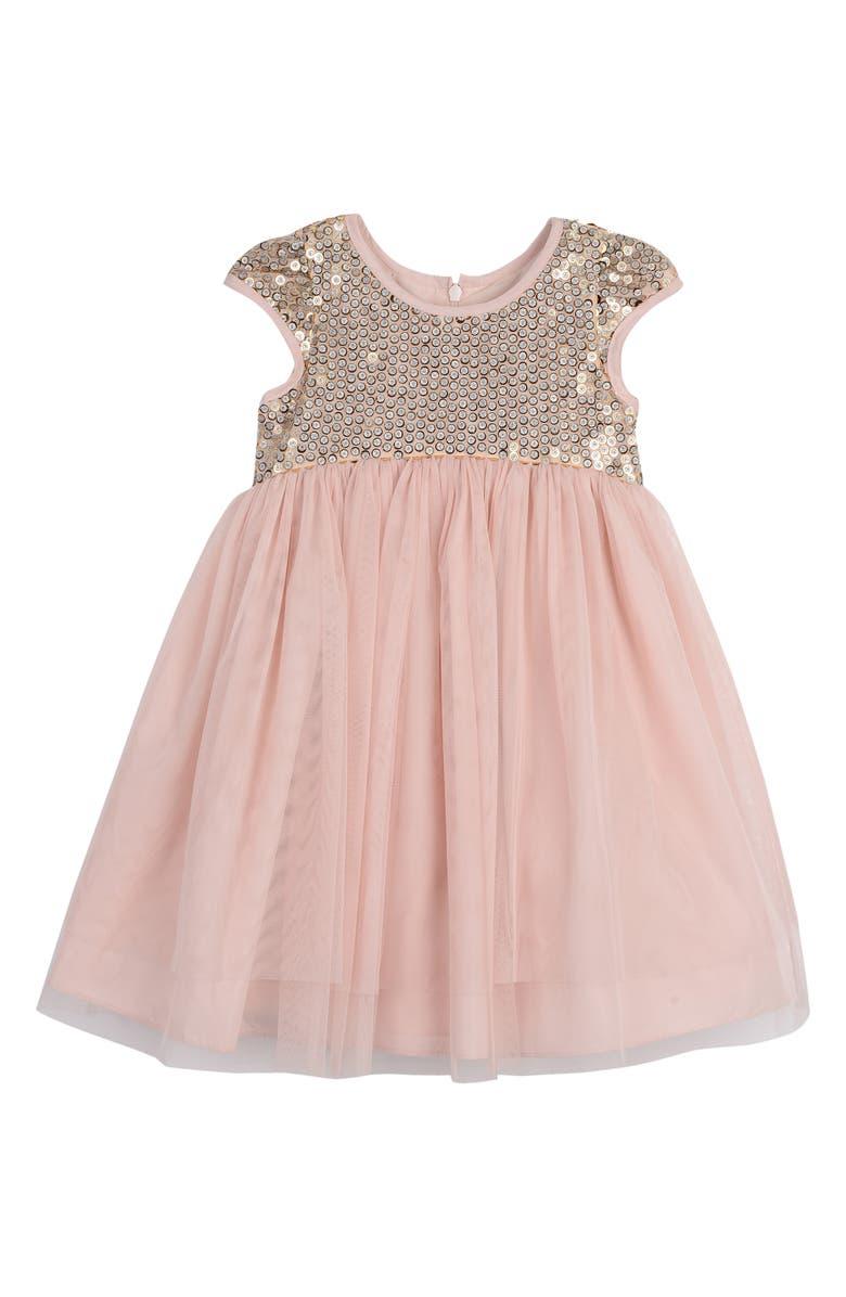 PIPPA & JULIE Sequin Empire Waist Mesh Dress, Main, color, BLUSH