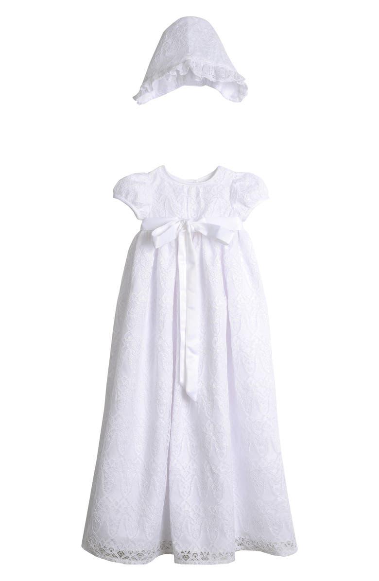 PIPPA & JULIE Point Lace Christening Gown & Bonnet Set, Main, color, WHITE