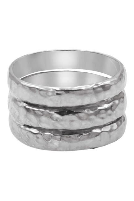 Image of DEVATA Sterling Silver Bali Hammered Triple Band Ring
