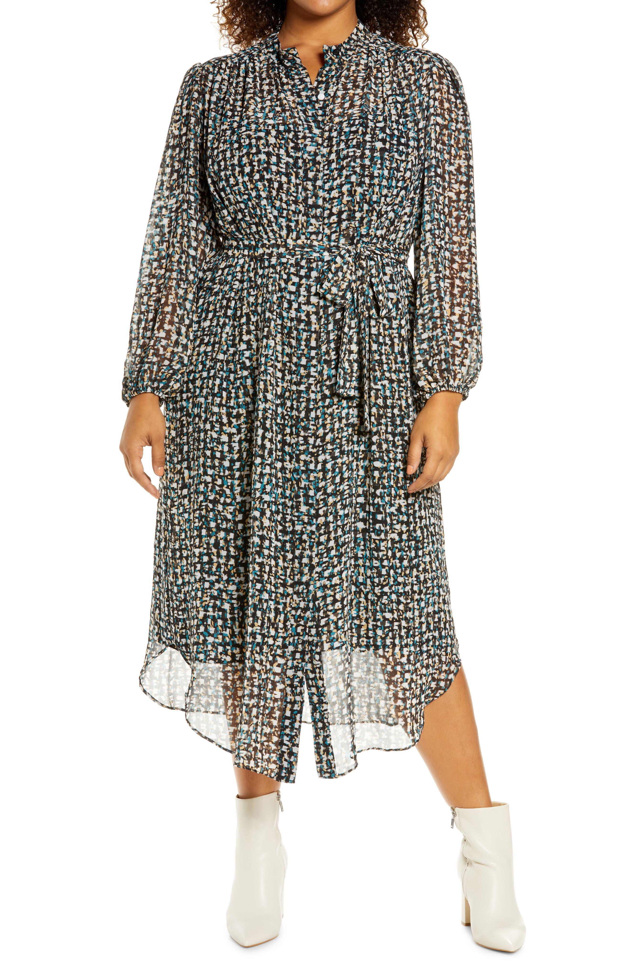 Abstract Print Long Sleeve Shirtdress