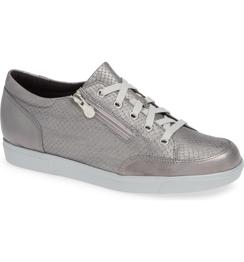 MUNRO Gabbie Sneaker, Main, color, LIGHT GREY LEATHER