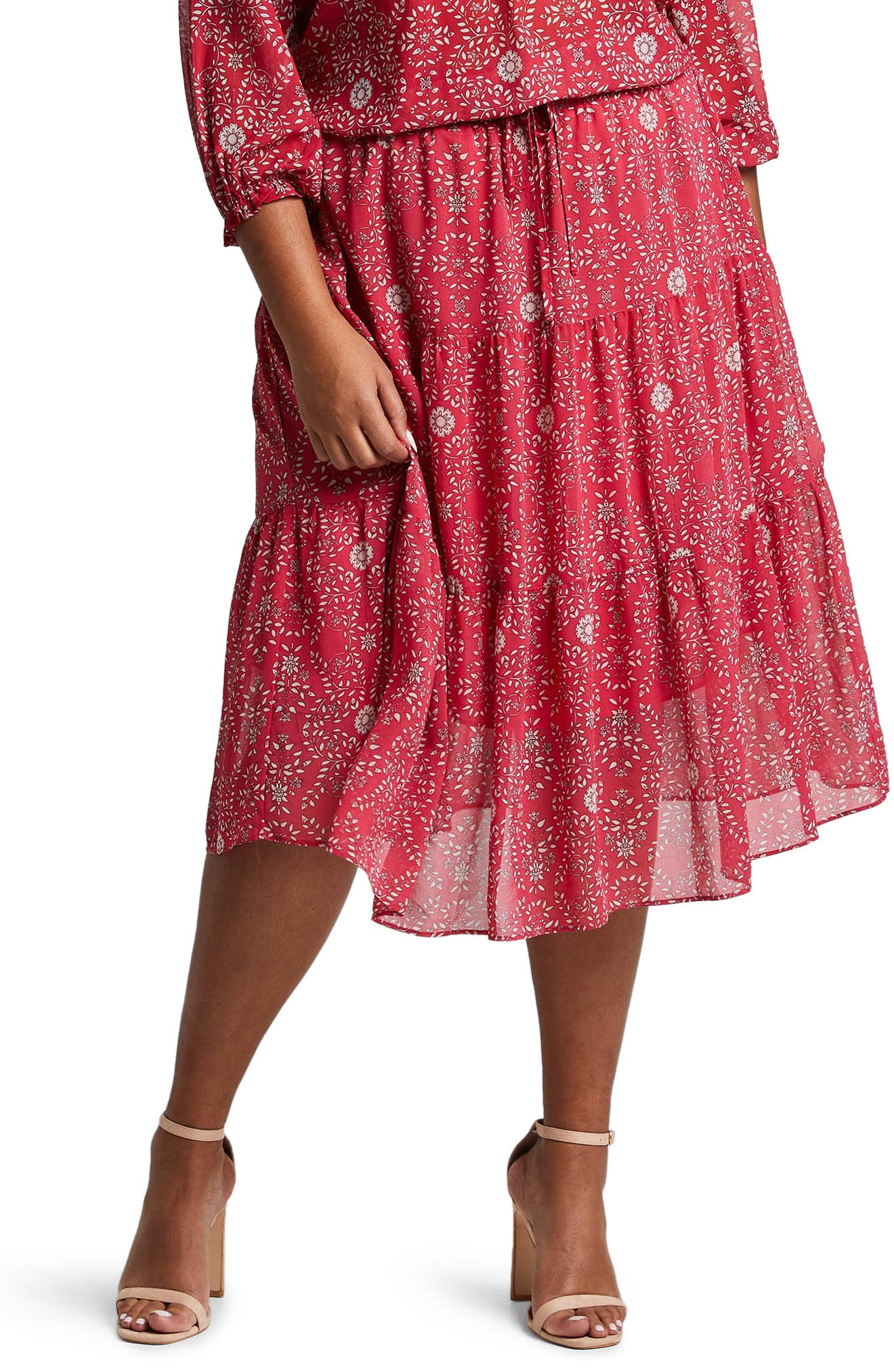 Trellis Floral Tiered Ruffle Skirt