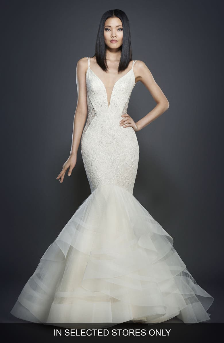 LAZARO Glitter Embellished Lace Mermaid Gown, Main, color, IVORY