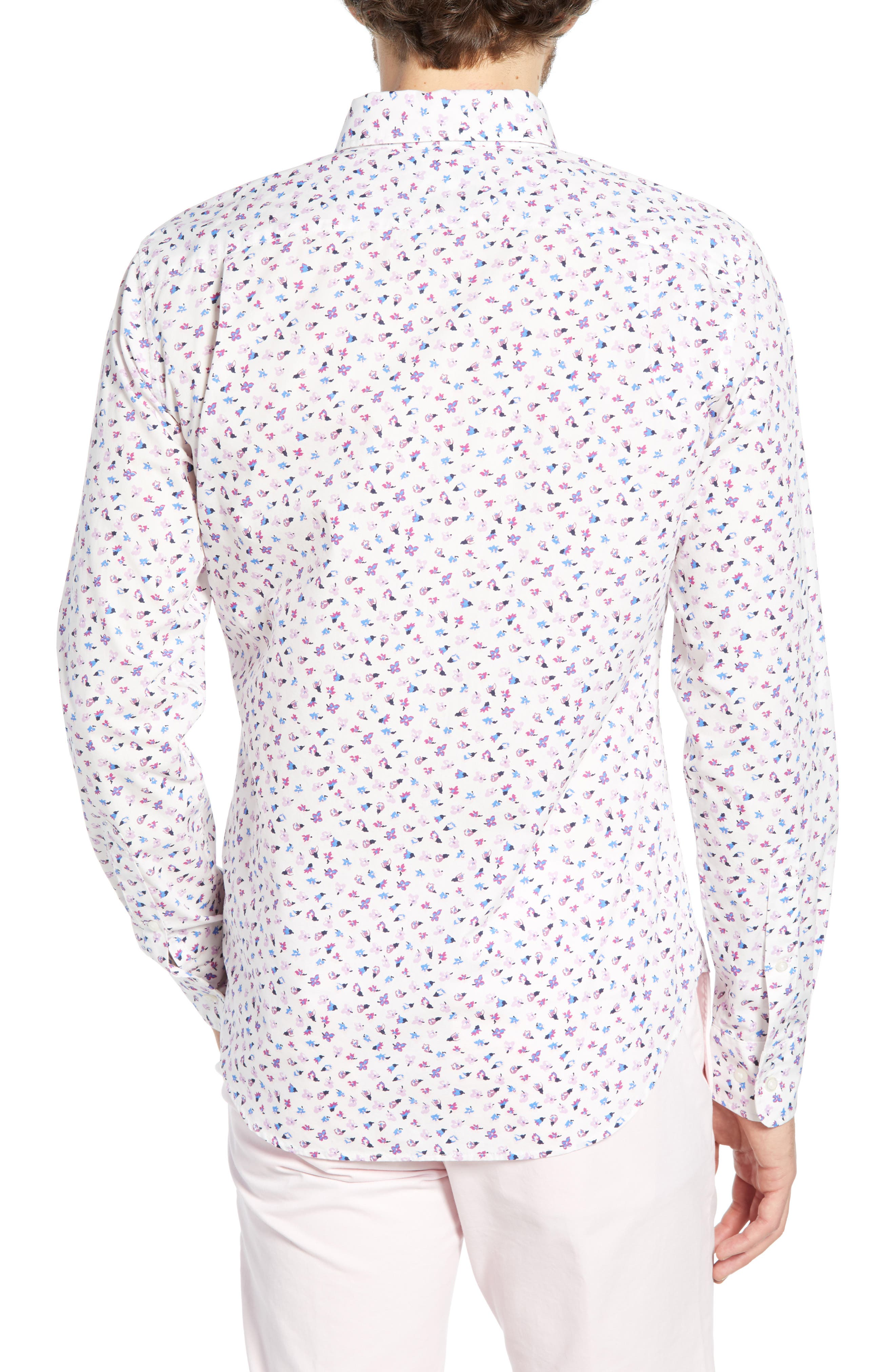 ,                             Washed Button Down Slim Fit Floral Print Sport Shirt,                             Alternate thumbnail 3, color,                             SMALL FLOWER SCATTER