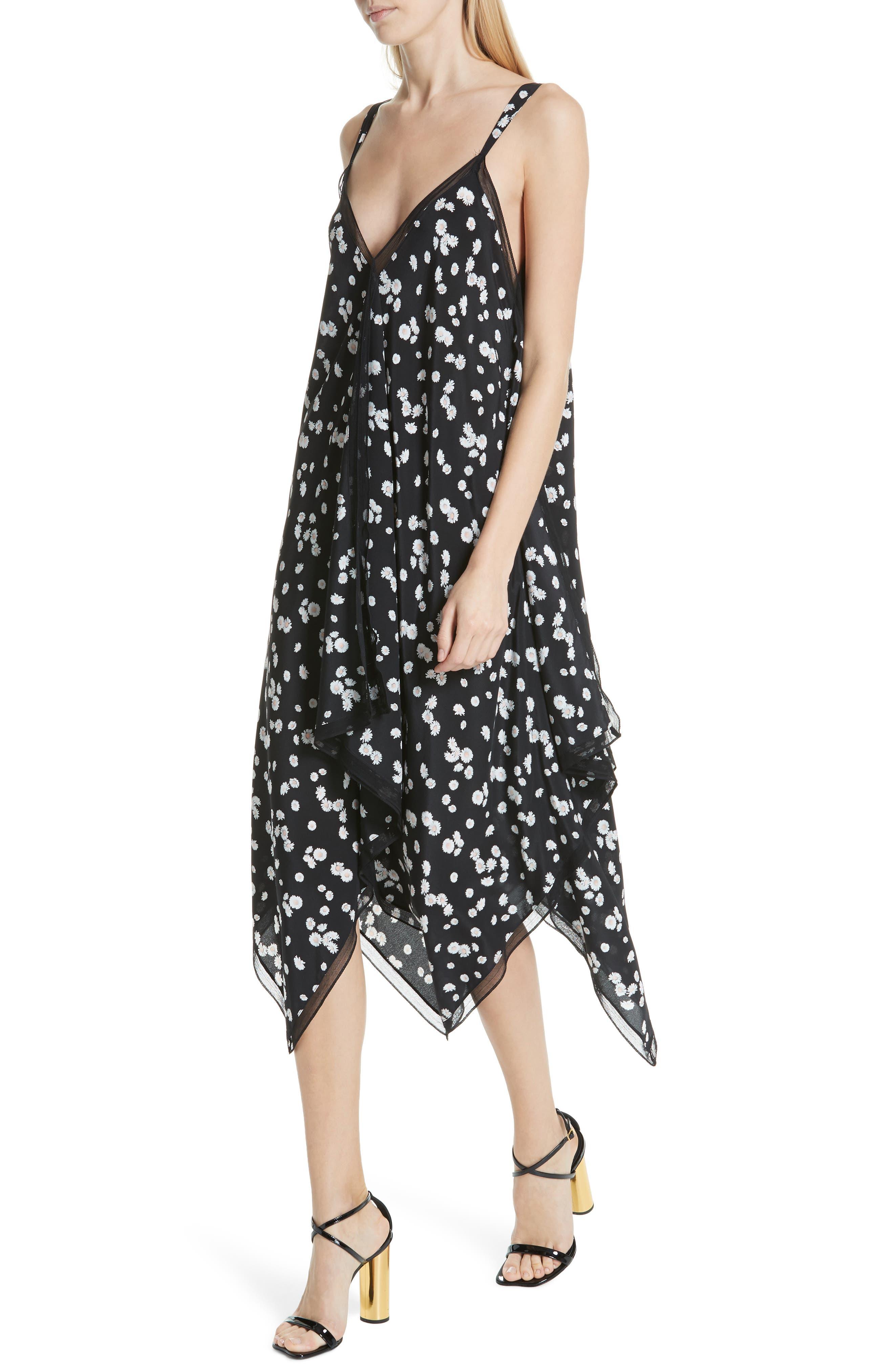 ,                             Spring Daisy Handkerchief Hem Dress,                             Alternate thumbnail 5, color,                             BLACK MULTI