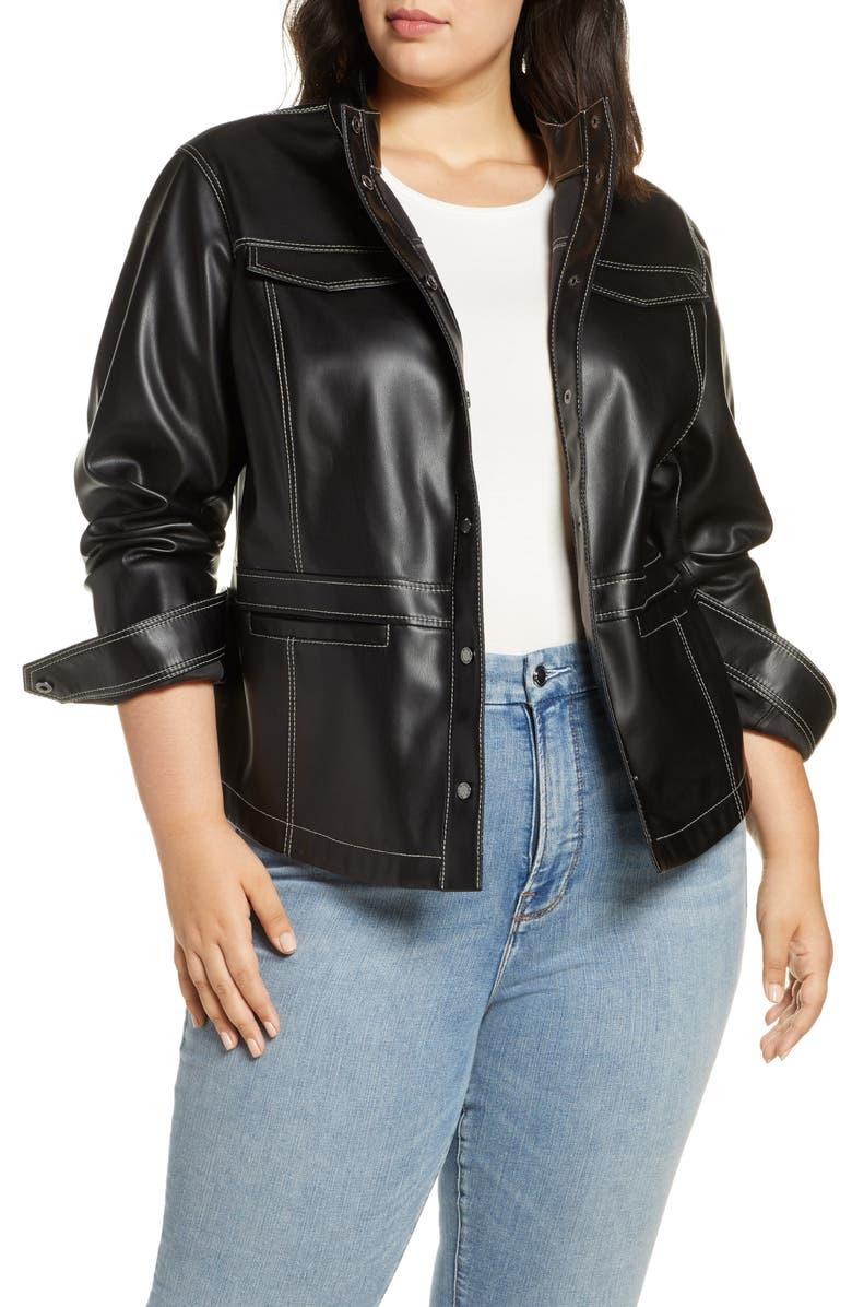 SAM EDELMAN Faux Leather Shirt Jacket, Main, color, 001