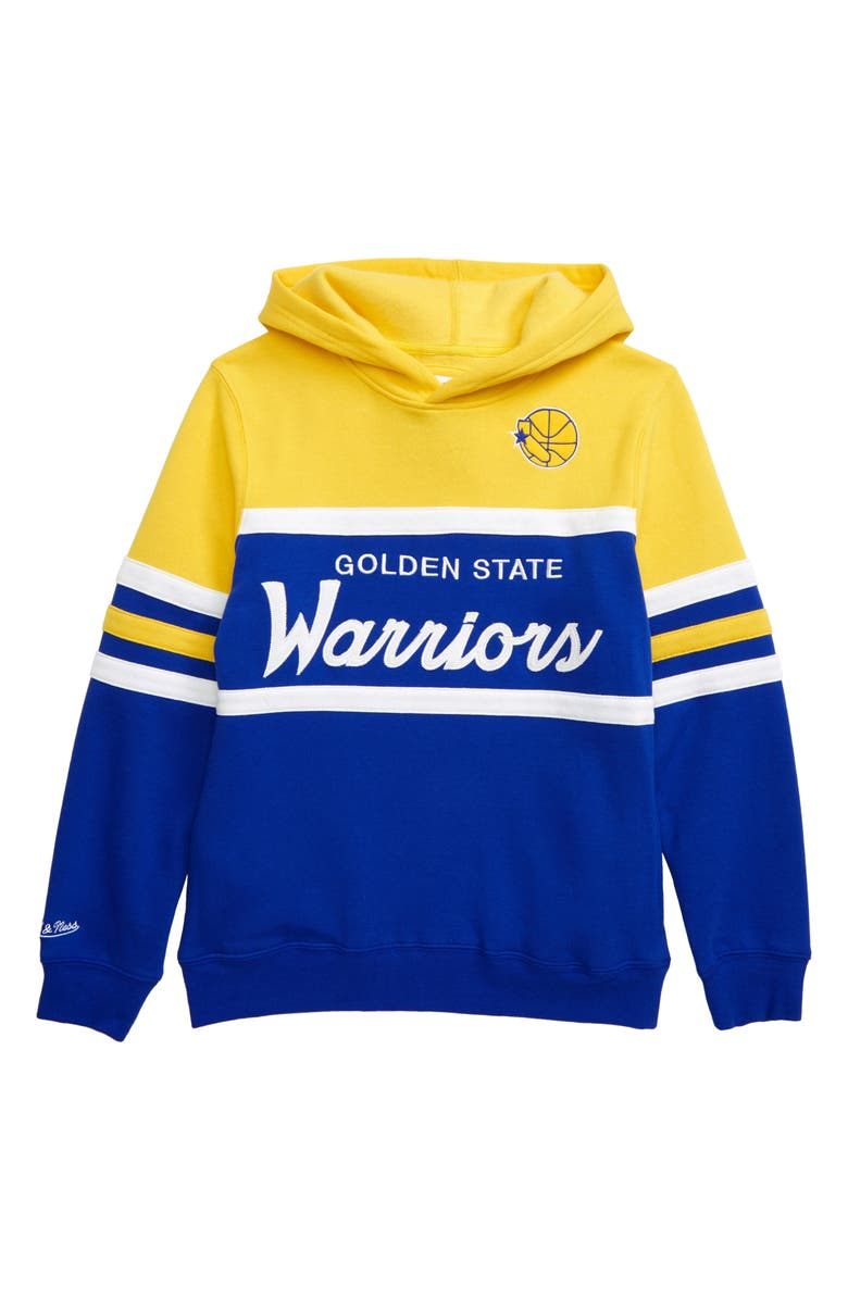 MITCHELL & NESS Golden State Warriors Head Coach Hoodie, Main, color, YELLOW/ BLUE