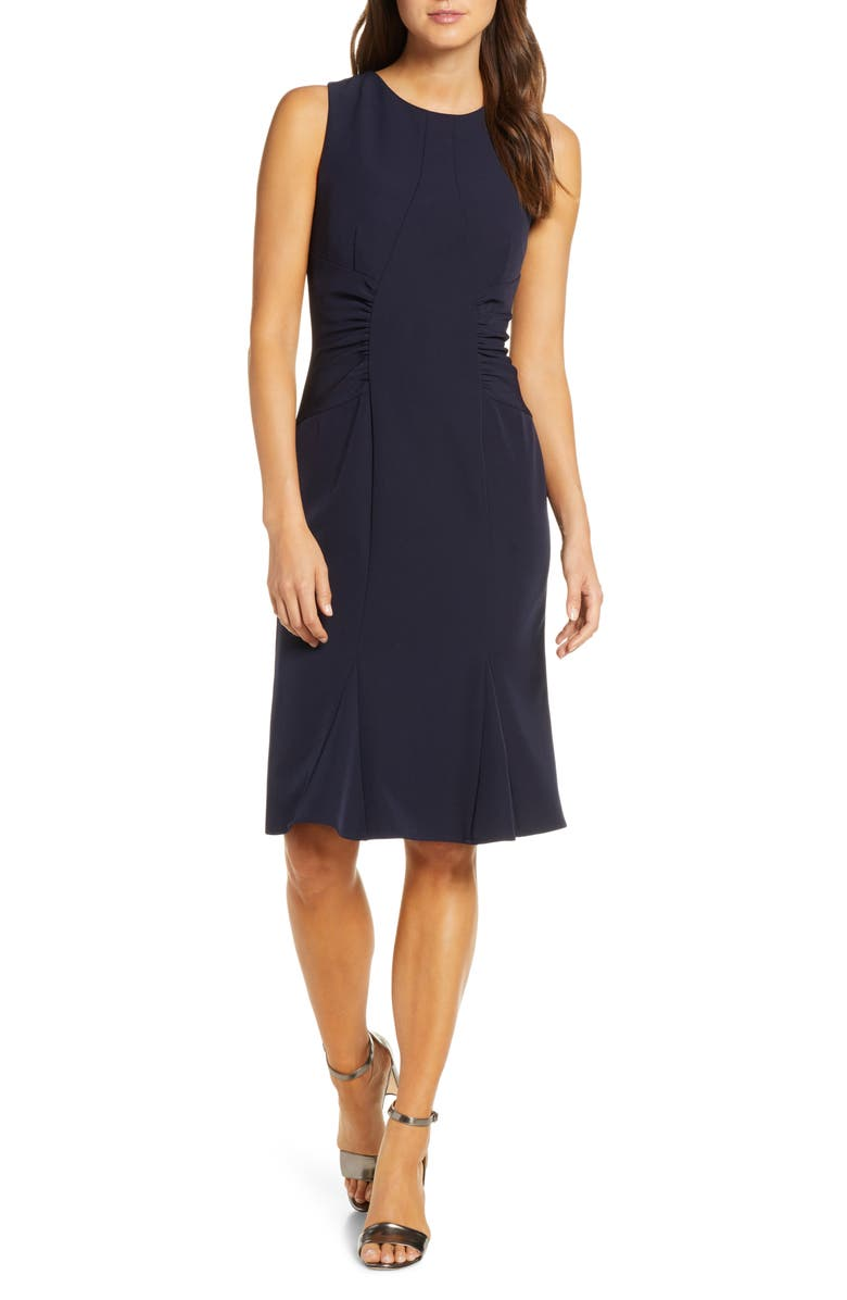 VINCE CAMUTO Laguna Crepe Dress, Main, color, NAVY