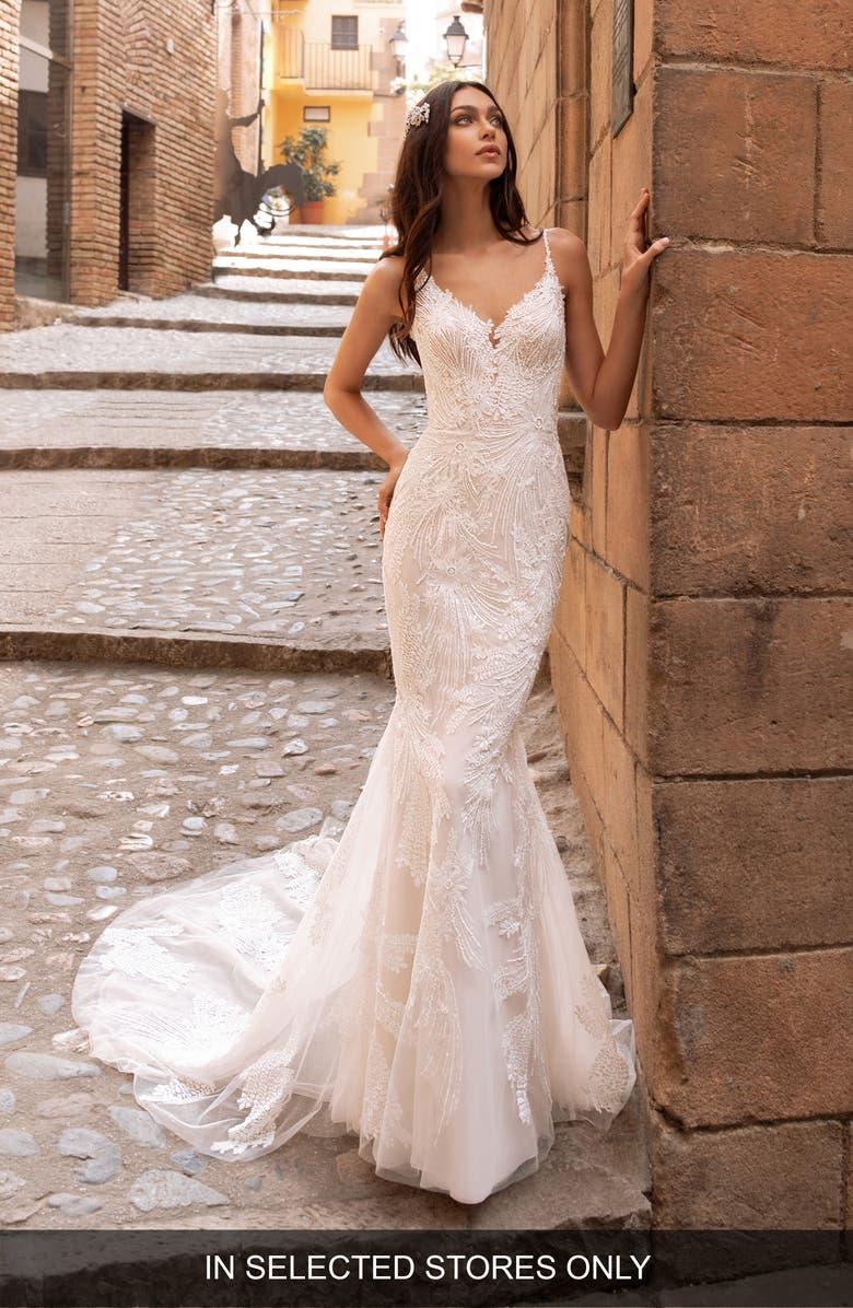 Pronovias Albiorex Embellished Mermaid Wedding Dress Nordstrom
