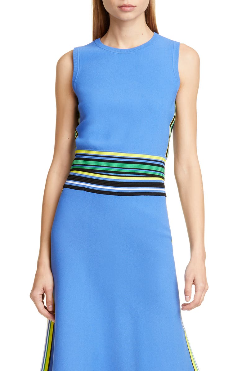 DVF Kamari Stripe Detail Sleeveless Top, Main, color, BAJA BLUE