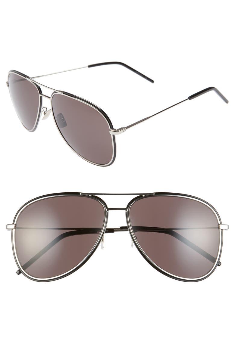 SAINT LAURENT 61mm Aviator Sunglasses, Main, color, SILVER/ BLACK