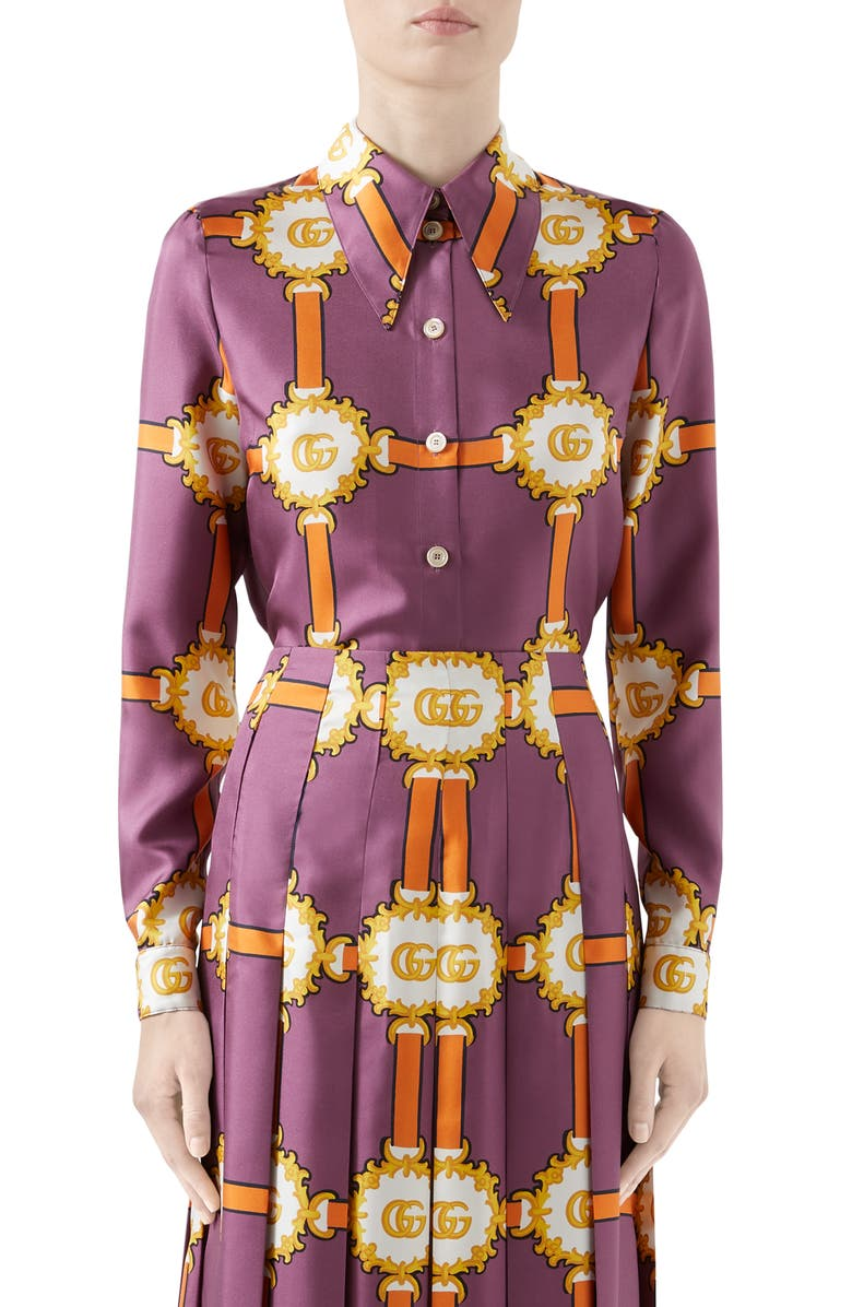 Gucci GG Doubloon Harness Print Silk Twill Blouse