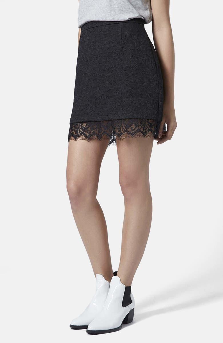 TOPSHOP Textured Lace Pelmet Skirt, Main, color, 001