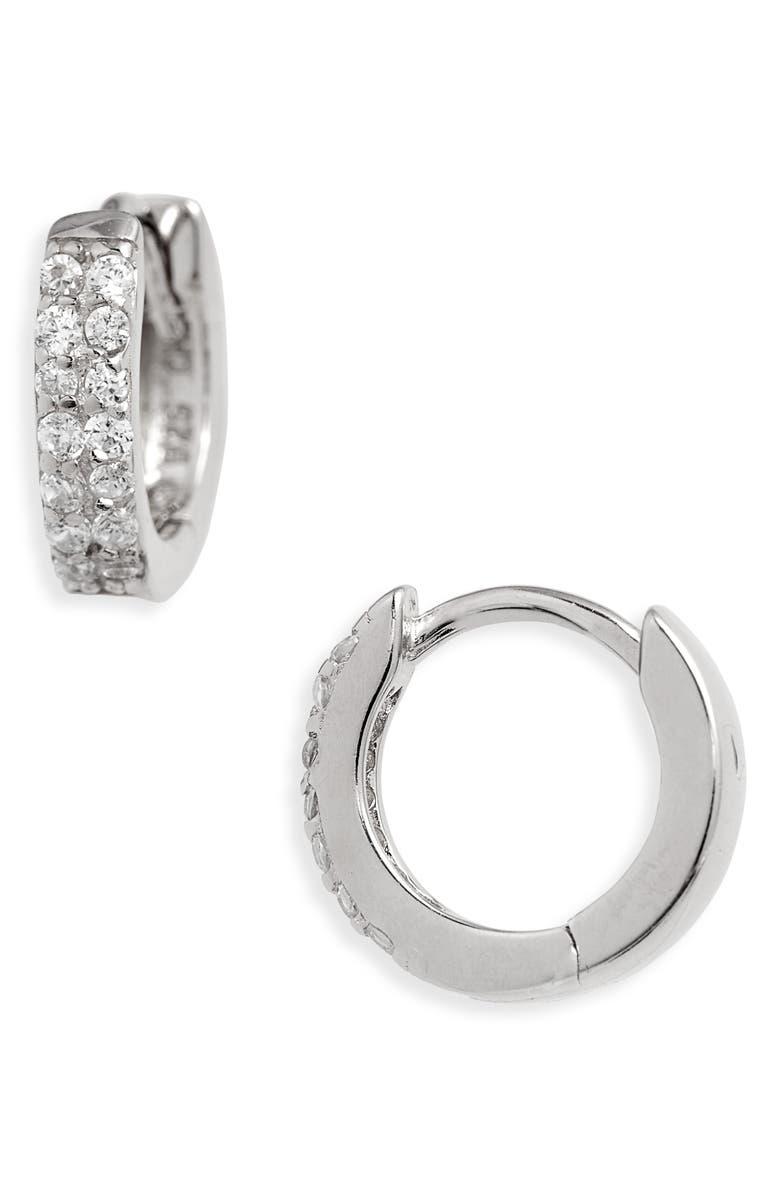ADINA'S JEWELS Adina's Jewels Double Row Huggie Earrings, Main, color, SILVER