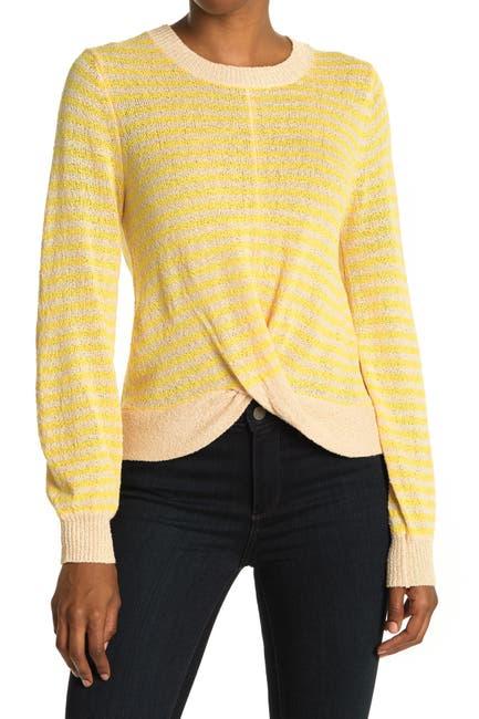 Image of Heartloom Twist Hem Relaxed Fit Stripe Sweater
