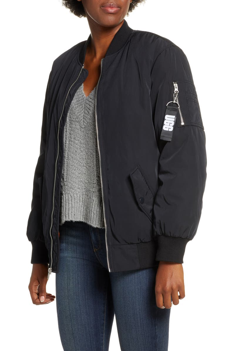 UGG<SUP>®</SUP> Frances Water Resistant Bomber Jacket, Main, color, 001