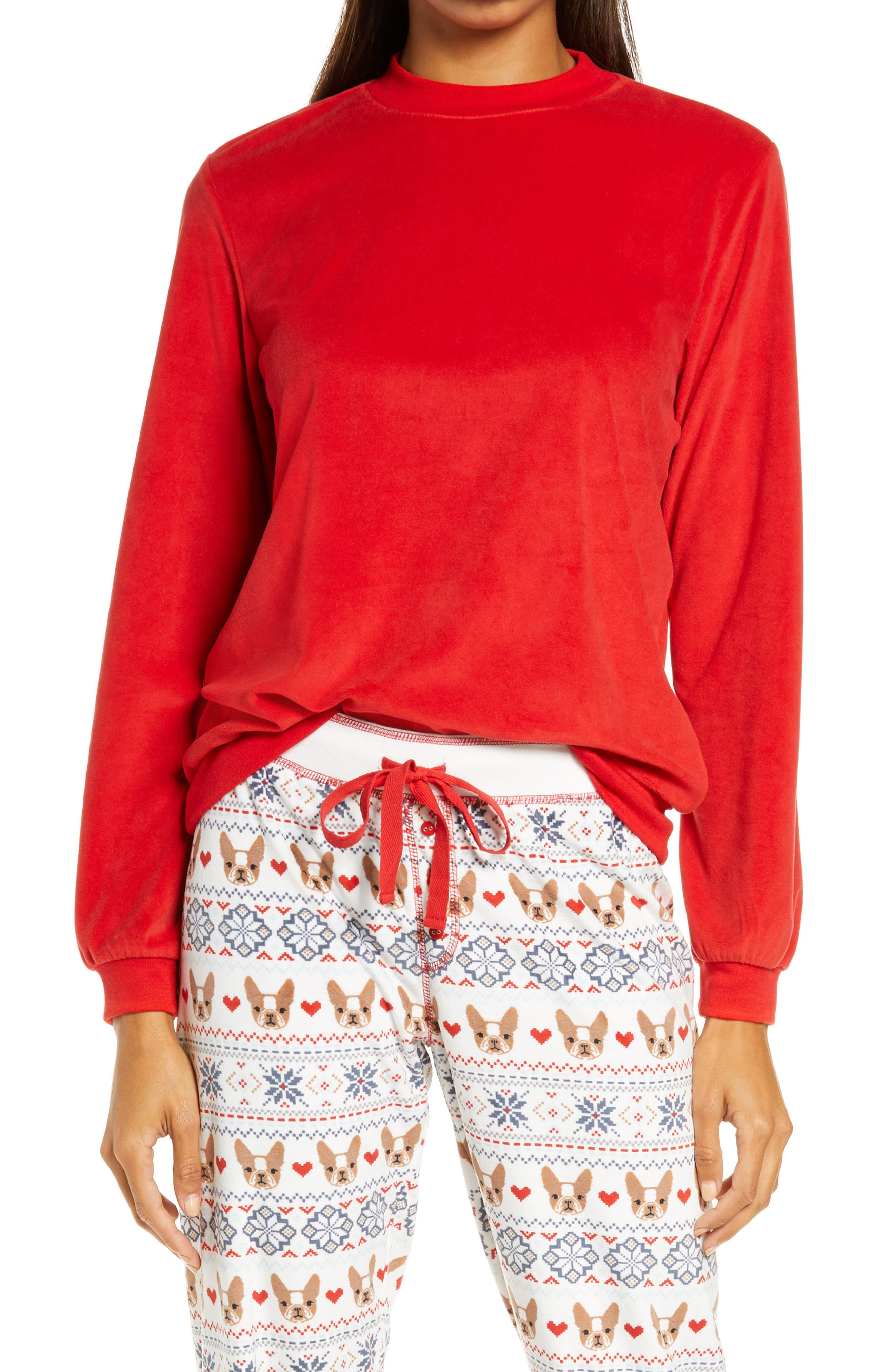 Women's Pj Salvage Silky Velour Mock Neck Top, Size X-Small - Red