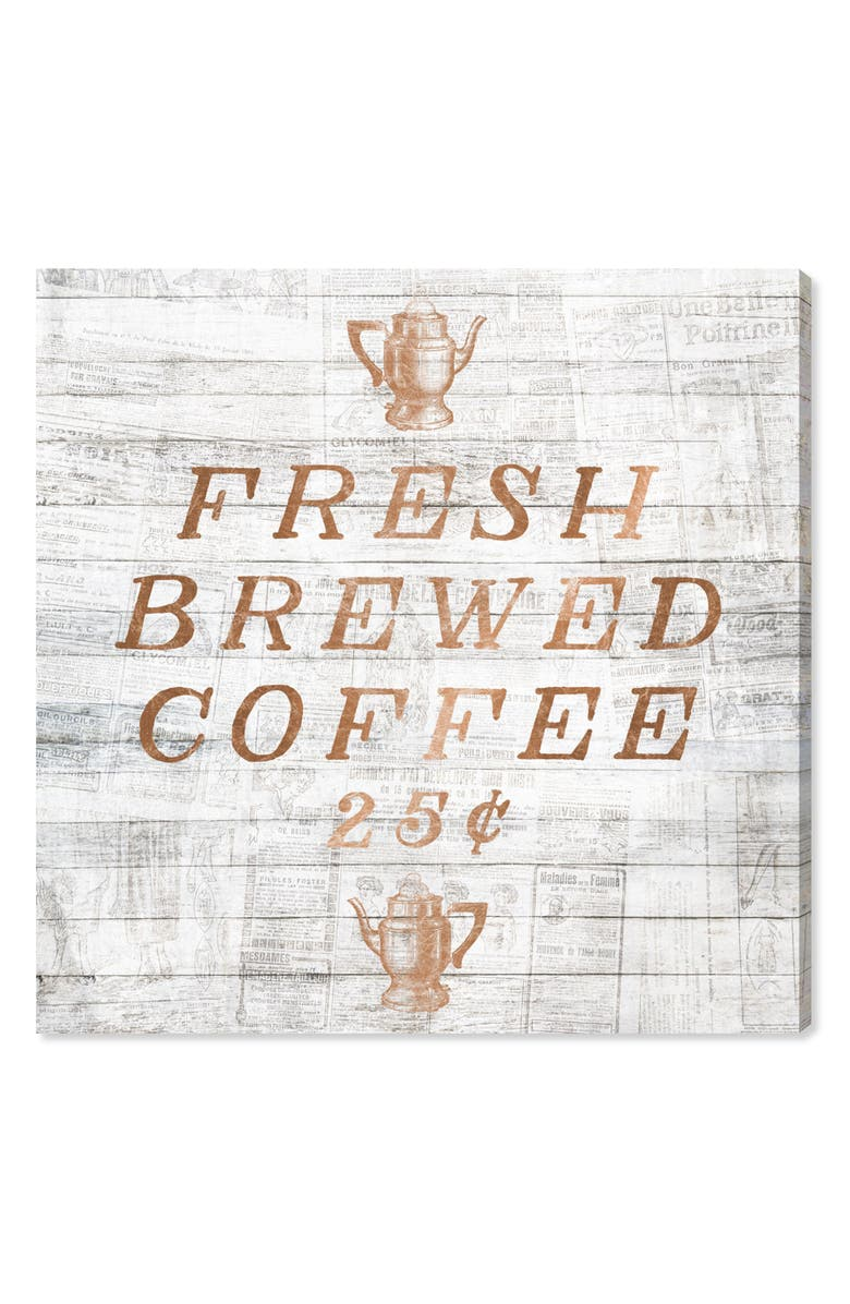 OLIVER GAL Fresh Brewed Coffee Canvas Wall Art, Main, color, METALLIC RUST/ COPPER