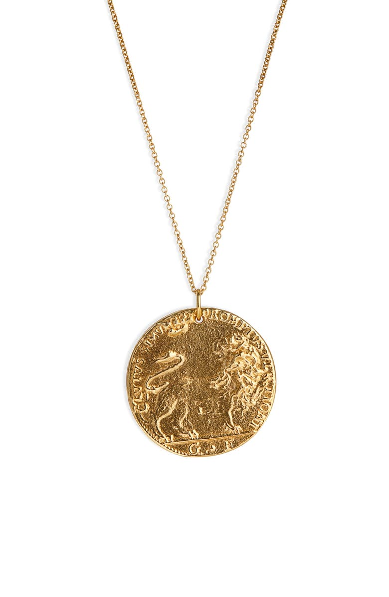 ALIGHIERI Il Leone Medallion Necklace, Main, color, GOLD PLATED