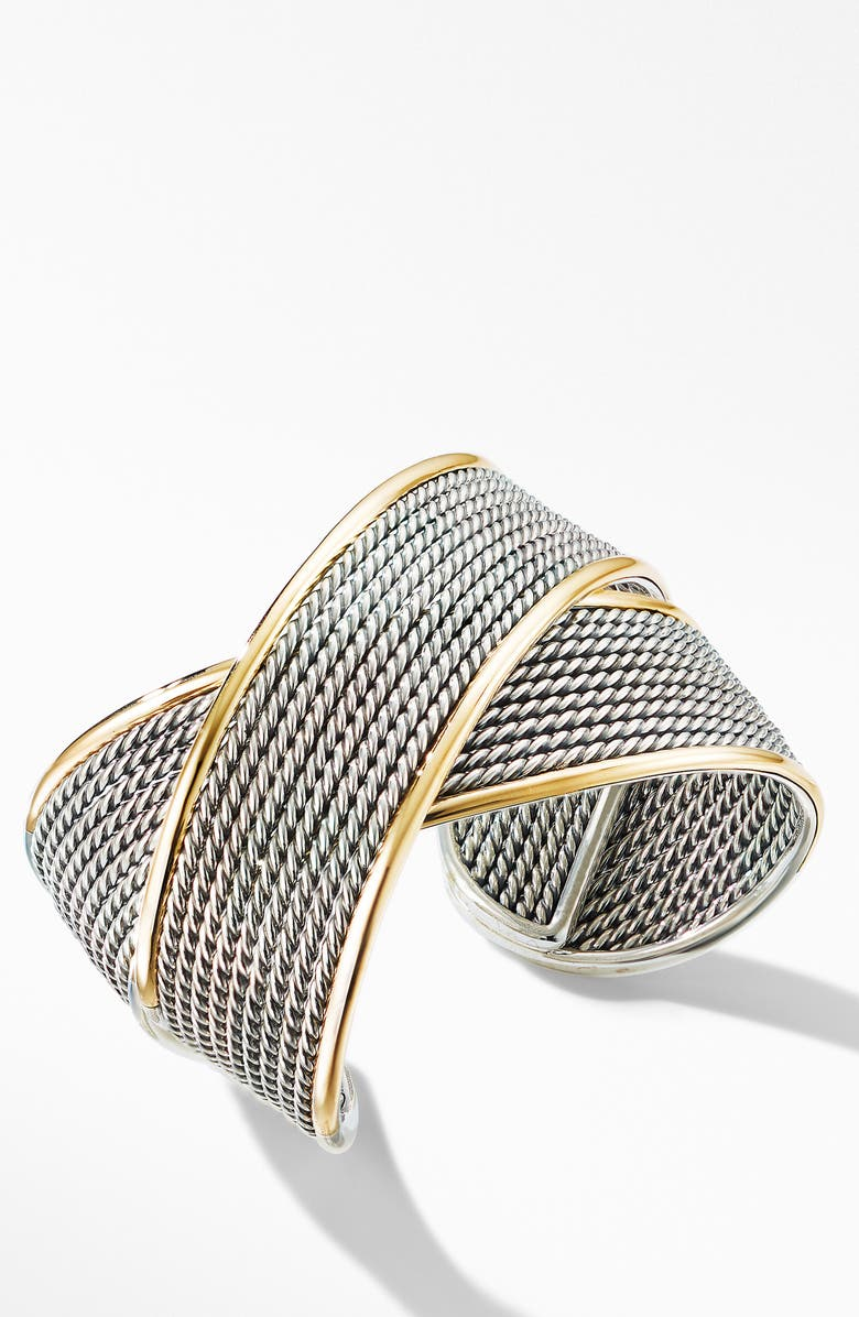 DAVID YURMAN Origami Large Crossover Cuff Bracelet with 18K Yellow Gold, Main, color, SILVER/ YELLOW GOLD