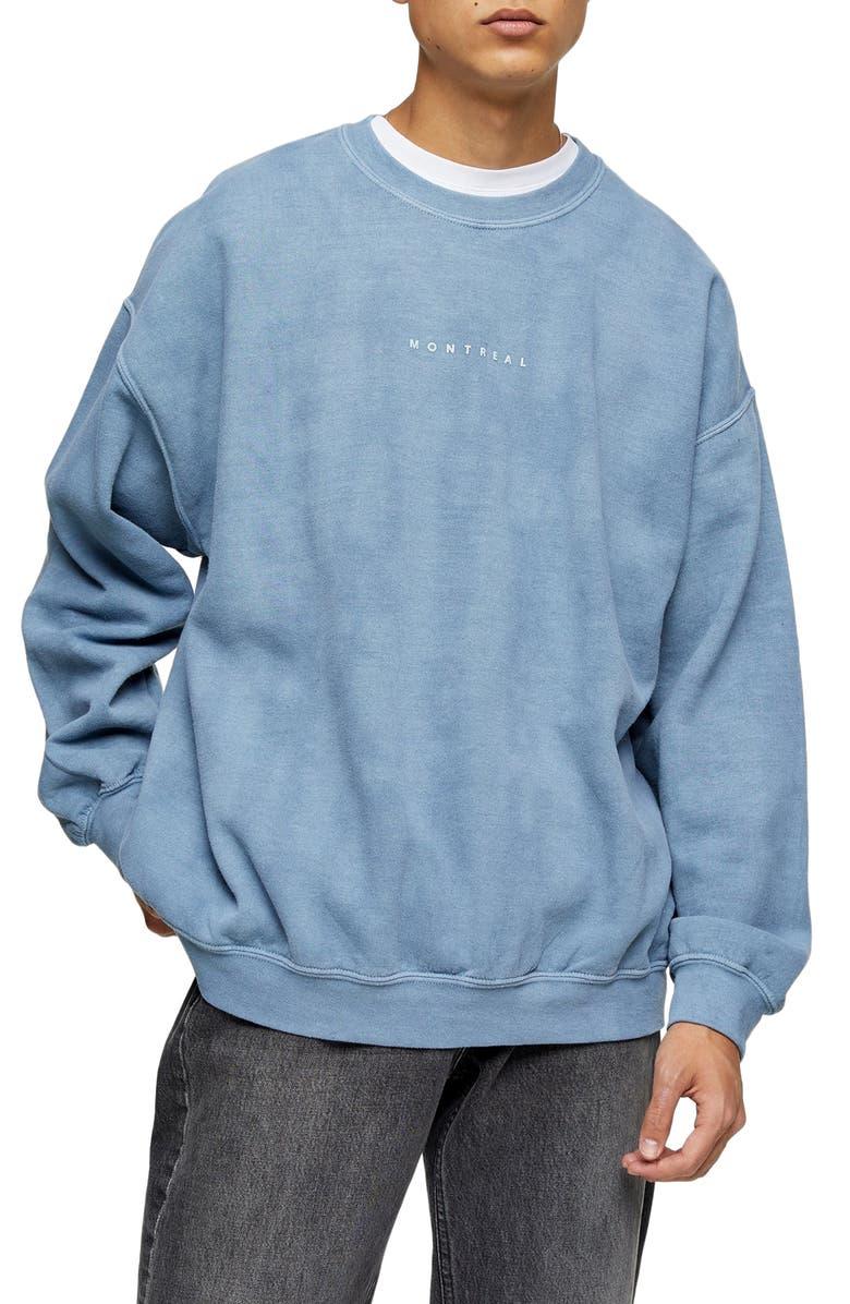 TOPMAN Montreal Oversize Crewneck Sweatshirt, Main, color, BLUE