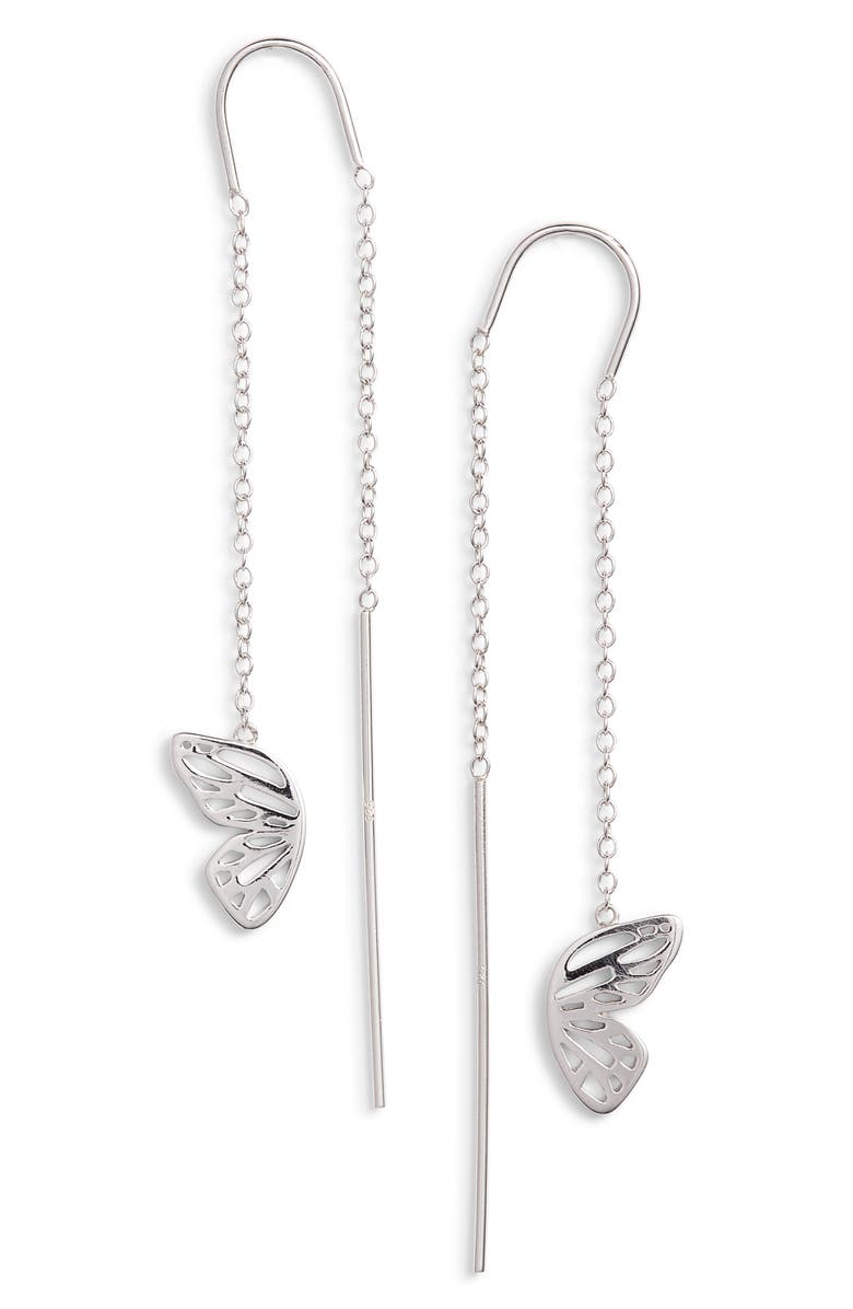 OLIVIA BURTON Butterfly Wing Threader Earrings, Main, color, SILVER