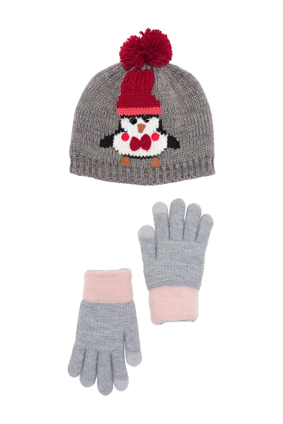 Image of David & Young Pompom Penguin Beanie & Gloves Set