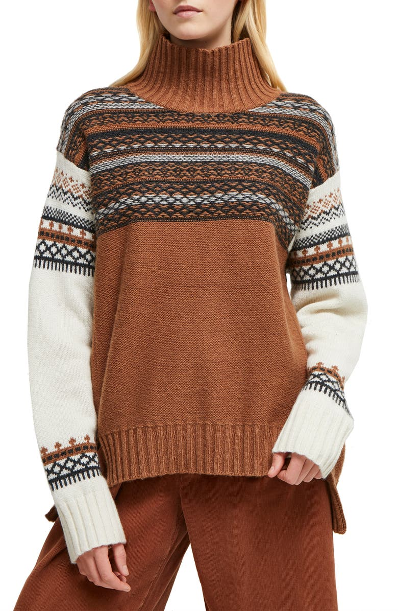 FRENCH CONNECTION Patchwork Fairisle Turtleneck Sweater, Main, color, 900