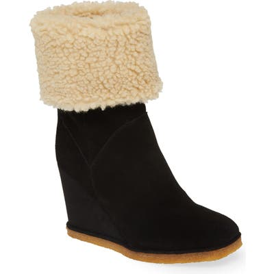 Jeffrey Campbell Faux Shearling Wedge Boot, Black