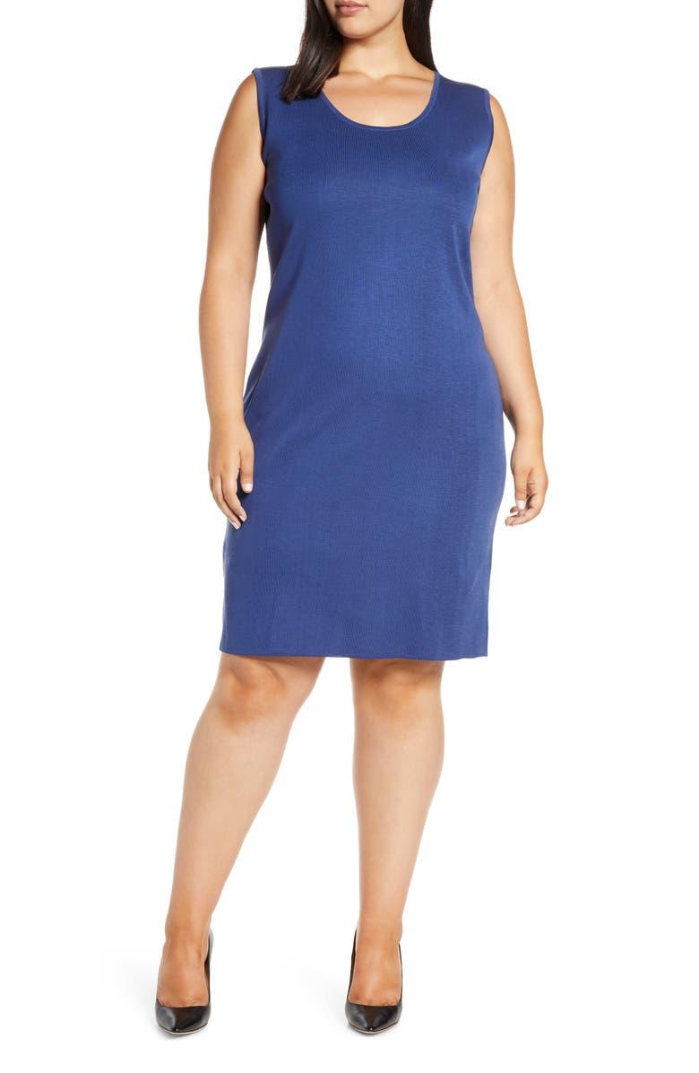 MING WANG Sheath Sweater Dress, Main, color, SPECTRUM BLUE