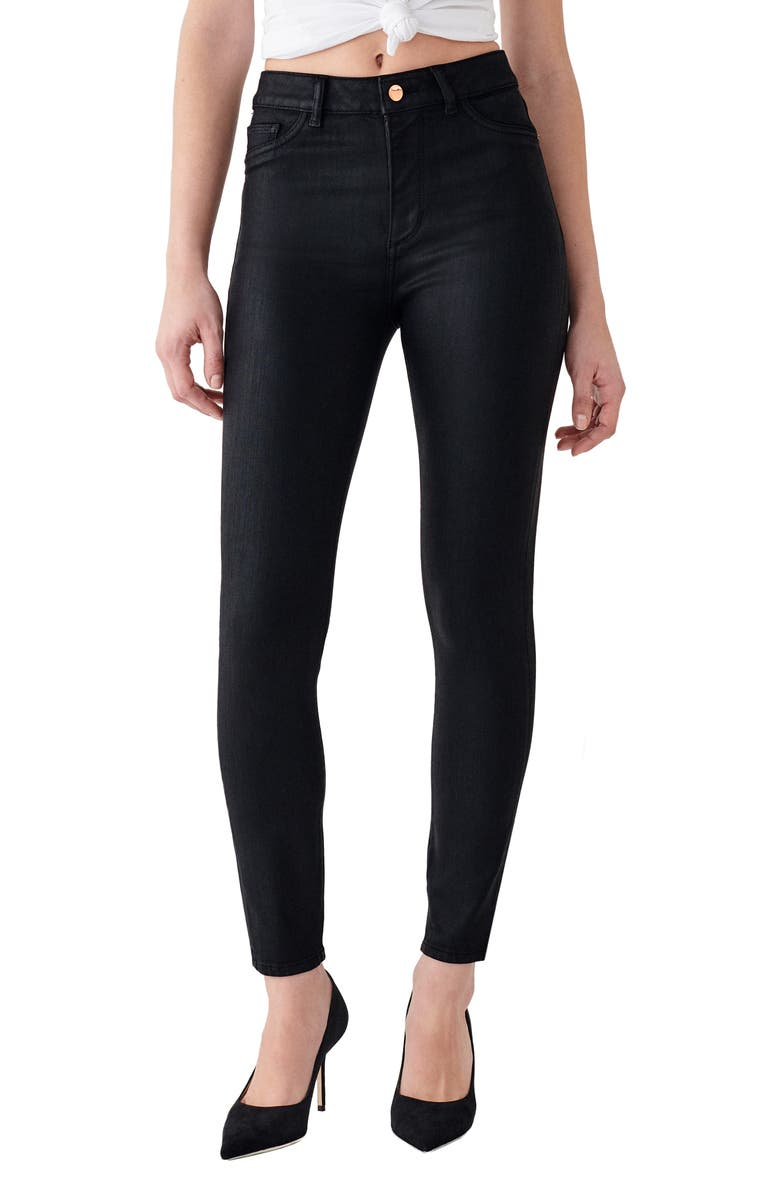DL1961 x Marianna Hewitt Instasculpt Farrow High Waist Ankle Coated Skinny Jeans, Main, color, SONOMA
