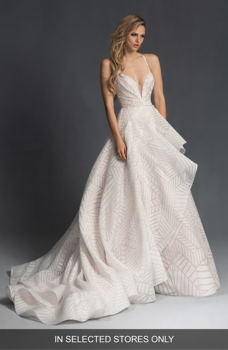 HAYLEY PAIGE Charles Geo Pattern Organza Wedding Dress, Main, color, IVORY