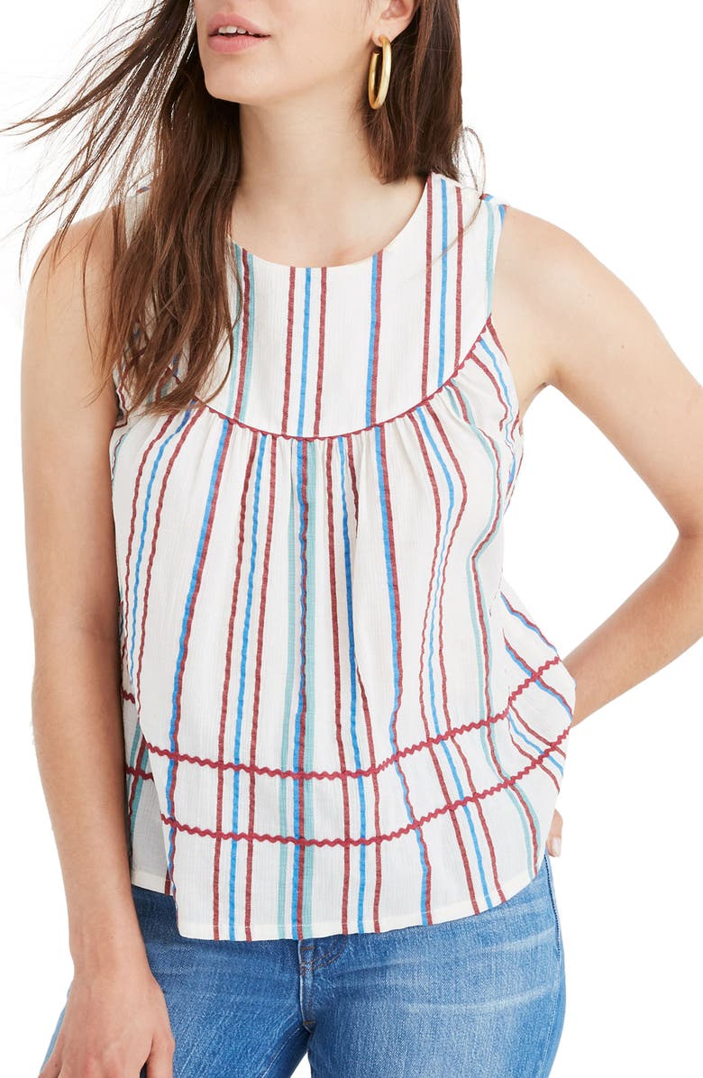 MADEWELL Stripe Rickrack Swing Tank, Main, color, VERONICA STRIPE DREAMY PINK
